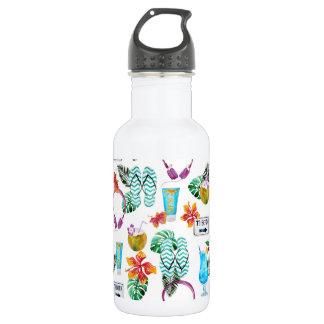 Modernes Aquarell-tropisches Strand-Muster Trinkflasche