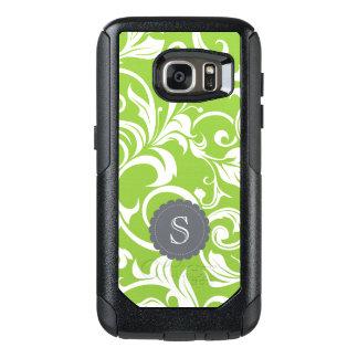 Modernes Avocado-Blumentapeten-Strudel-Monogramm OtterBox Samsung Galaxy S7 Hülle