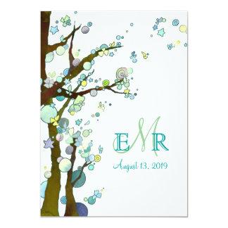 Modernes Baum-Monogramm-weiße Frühlings-Hochzeit 12,7 X 17,8 Cm Einladungskarte