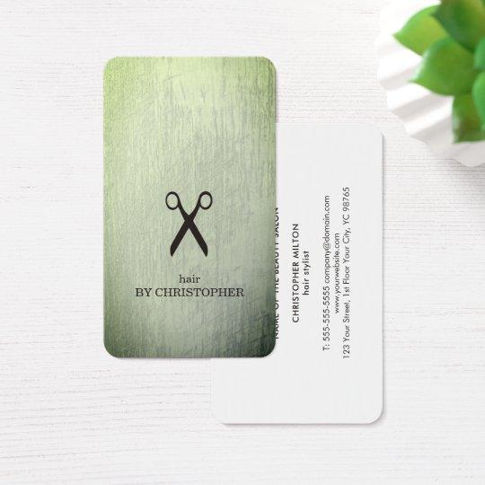Modernes Beschaffenheits-Grün-Schwarzes Scissors Visitenkarte