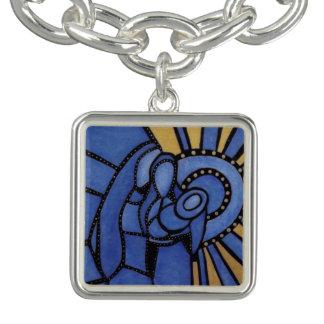 Modernes Blau WeihnachtsGeburt Christis-Jesuss Charm Armband