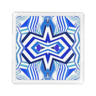 Modernes blaues geometrisches acryl tablett