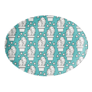 Modernes blaues Kaktus-Muster Porzellan Servierplatte