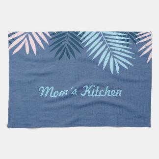 Modernes blaues tropisches Paradies-Monogramm Küchentuch