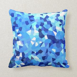 Modernes blaues und Weiß kristallisiertes Kissen