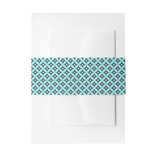 Modernes blaues und weißes Kreis-Tupfen-Muster Einladungsbanderole