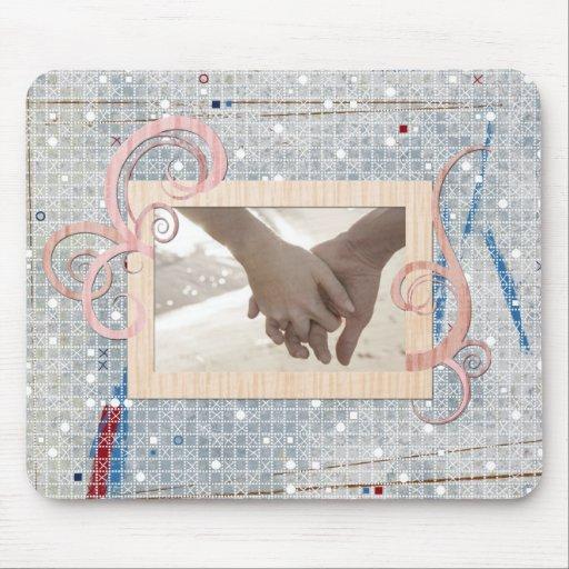Modernes blaues weißes Hochzeit Regenschirm-Brautp Mousepads