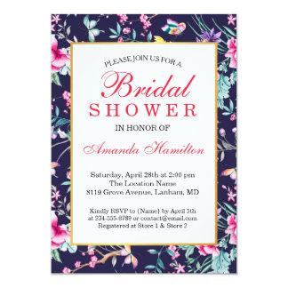 Modernes Blumen-und Schmetterlings-Brautparty Karte
