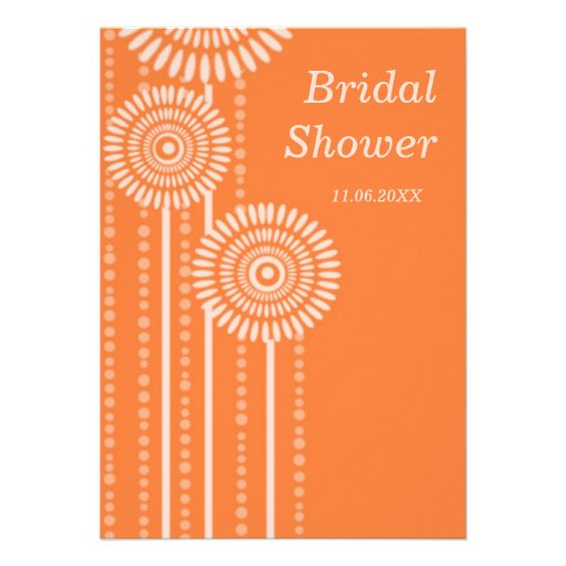 Modernes BlumenBrautparty - orange Einladungen