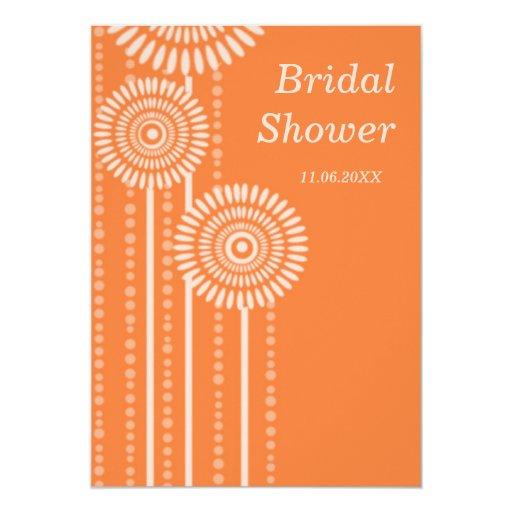 Modernes BlumenBrautparty - orange Einladungen 12,7 X 17,8 Cm Einladungskarte