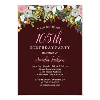 Modernes Blumenburgunder-Rosa-105. Geburtstag Karte