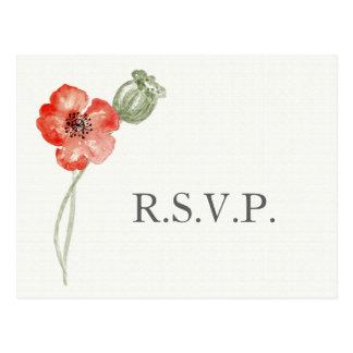 Modernes Blumenhochzeits-uAwg der hübschen roten Postkarte