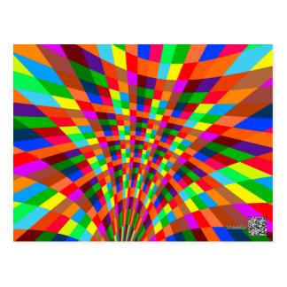 Modernes buntes abstraktes Muster färbt blaues Rot Postkarte