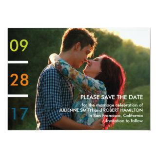 Modernes buntes Foto, das Save the Date Wedding Karte
