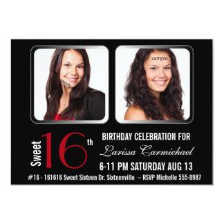 Modernes BW-ROT 2 Party des Foto-Bonbon-16 laden 11,4 X 15,9 Cm Einladungskarte