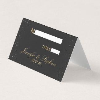 Modernes Chic-Gold gesprenkelt auf schwarzen Platzkarte