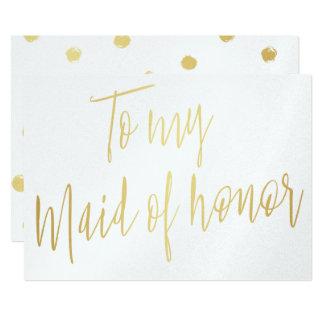 Modernes Chic-Gold zu meiner Trauzeugin 12,7 X 17,8 Cm Einladungskarte