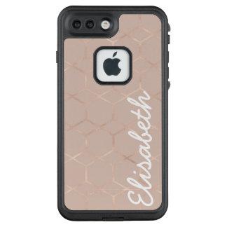 Modernes Chic Rosen-Goldgeometrisches Hexagon Ihr LifeProof FRÄ' iPhone 8 Plus/7 Plus Hülle