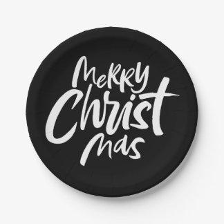 Modernes christliches Weihnachten, das elegantes Pappteller