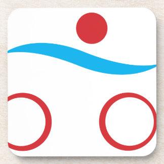 Modernes cooles Logo des Triathlon Getränkeuntersetzer