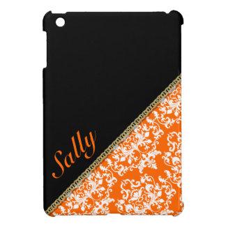 Modernes Damastschwarzes orange Namens-LECH iPad Mini Etuis