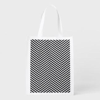 Modernes dünnes Schwarz-weißes Zickzack Wiederverwendbare Einkaufstasche