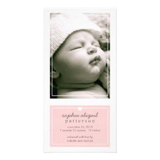 Modernes einfaches Baby-Geburts-Mitteilungs-Rosa Karte
