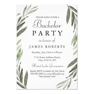 Modernes einfaches grünes Blatt-Junggeselle-Party 12,7 X 17,8 Cm Einladungskarte