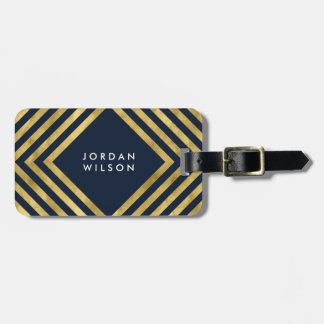 Modernes elegantes blaues Imitat-Goldgeometrische Kofferanhänger