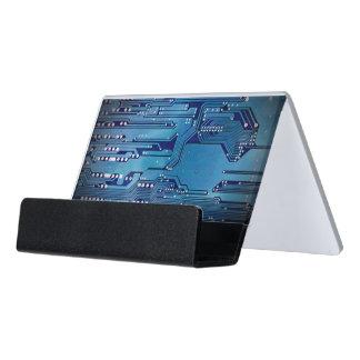 Modernes elegantes blaues Leiterplatte-Foto Schreibtisch-Visitenkartenhalter