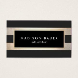 Modernes elegantes gestreiftes Schwarzes und Visitenkarten