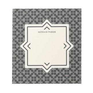 Modernes elegantes Kohlen-und Creme-Muster Notizblock