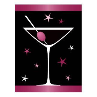 Modernes elegantes Martini-Cocktailglasschwarzrosa Postkarte