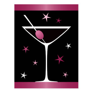 Modernes elegantes Martini-Cocktailglasschwarzrosa Postkarten