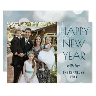 Modernes Familien-Foto-glückliches neues Jahr Karte