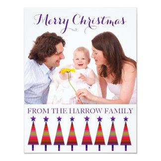 Modernes Familien-Weihnachtsgrüßende lila Karte