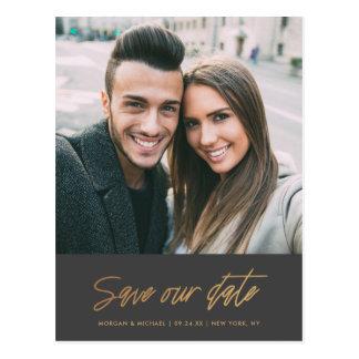 Modernes Foto des Scrawl-| retten unsere Postkarte