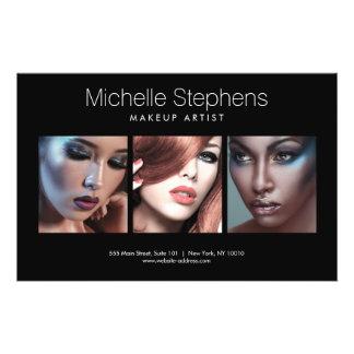 Modernes Foto-Trio für Make-upkünstler-Schwarzes 14 X 21,6 Cm Flyer