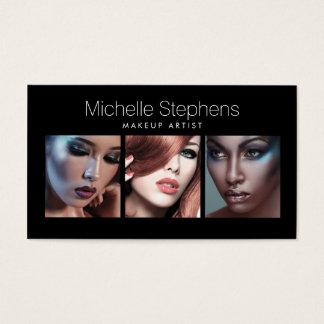 Modernes Foto-Trio für Make-upkünstler-Schwarzes Visitenkarten