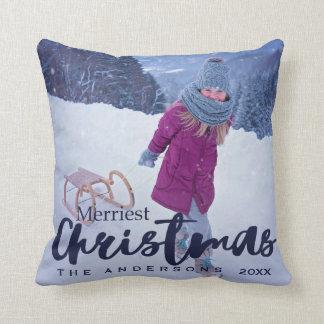 Modernes frohste Weihnacht-Skript-Feiertags-Foto Zierkissen