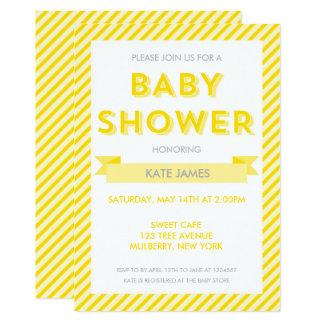 Modernes Gelb Stripes Babyparty-Einladung Karte