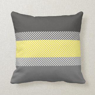 Modernes gelbes u. graues geometrisches zierkissen