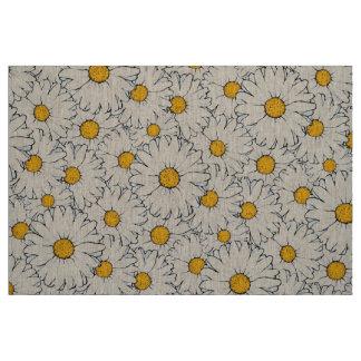 Modernes gelbes weißes Gänseblümchen-Blumenmuster Stoff