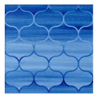 Modernes gemaltes blaues Ogee Muster Acryl Wandkunst