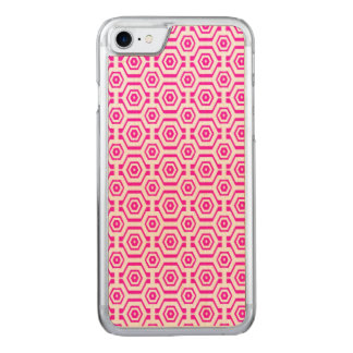 Modernes geometrisches Muster-Hexagon-Pink-Weiß Carved iPhone 8/7 Hülle