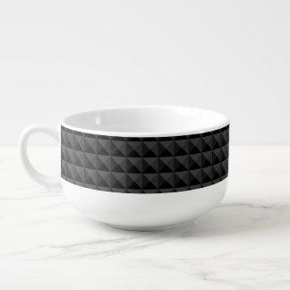 Modernes geometrisches schwarzes Quadrat-Muster Große Suppentasse