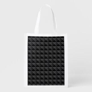 Modernes geometrisches schwarzes Quadrat-Muster Wiederverwendbare Einkaufstasche