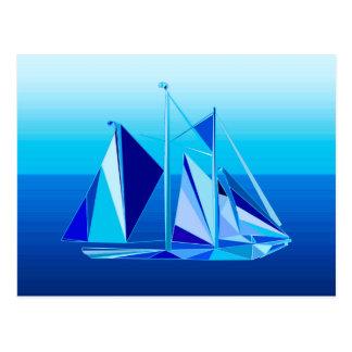 Modernes geometrisches Segelboot/Yacht, Postkarte