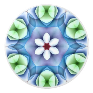 Modernes geometrisches weißes Gänseblümchen Keramikknauf