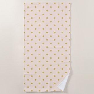 Modernes Girly Rosa-und GoldTupfen-Muster Strandtuch